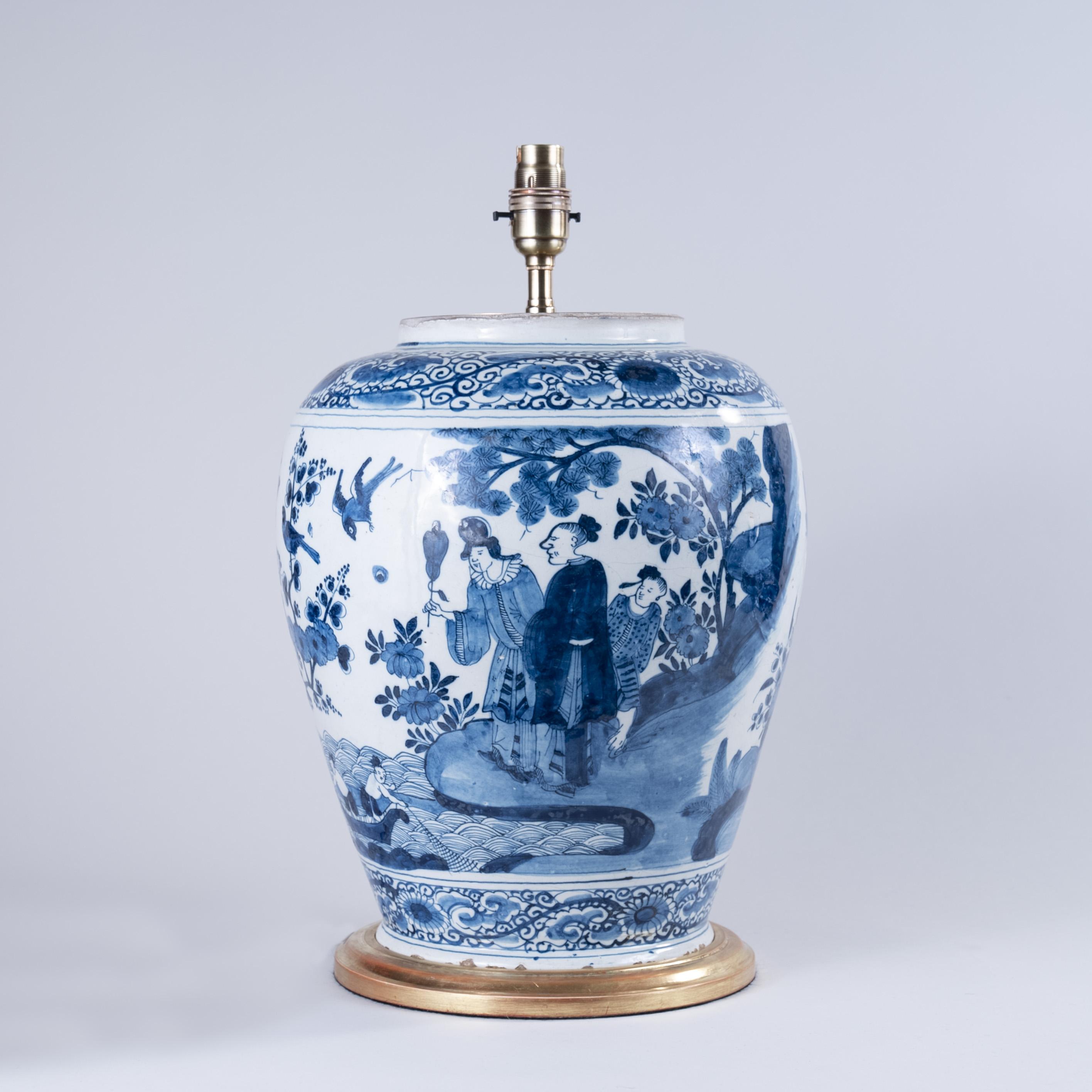 Late 17th century Dutch Delft Blue and White Vase