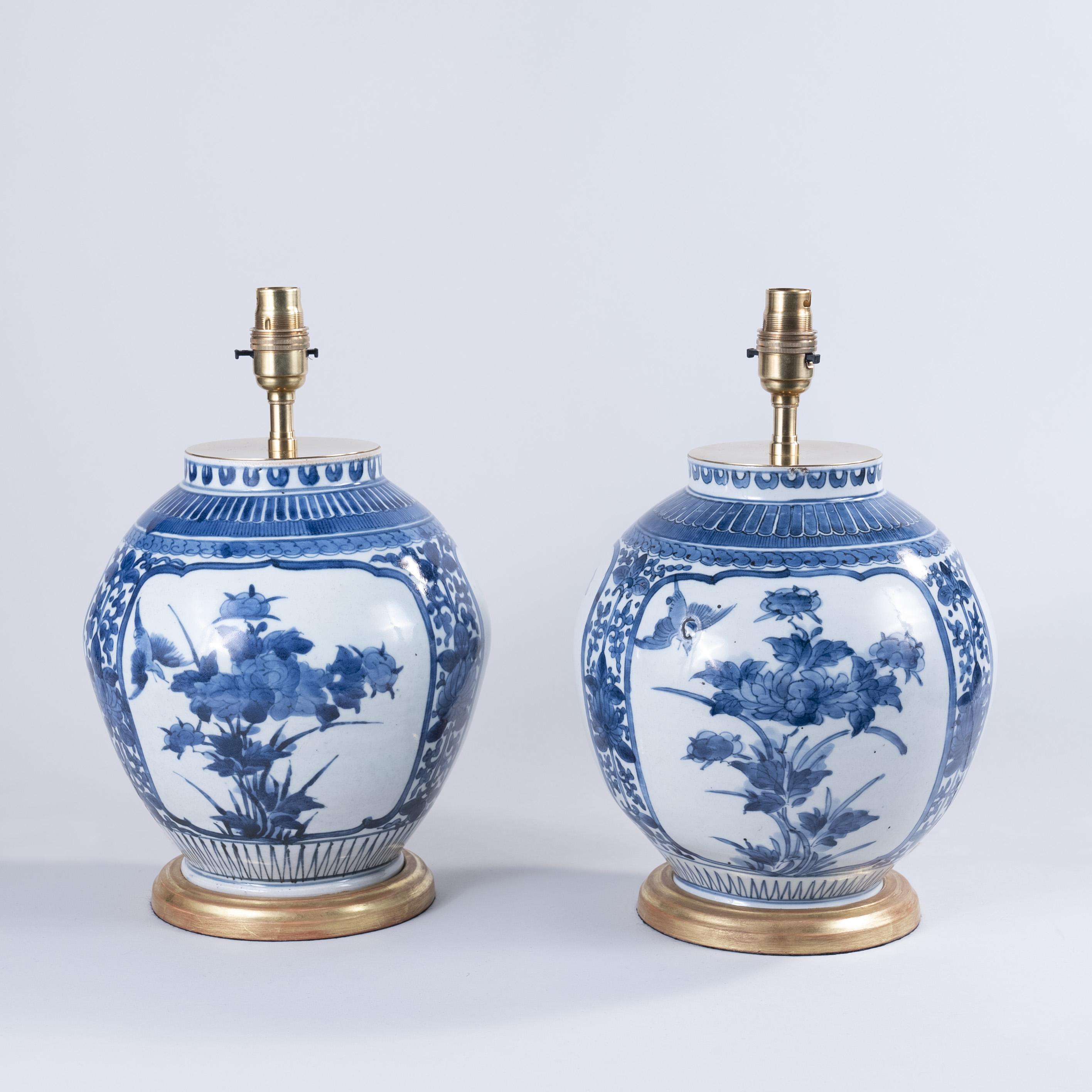 Small Pair of Japanese Arita Vases as Lamps, circa 1700