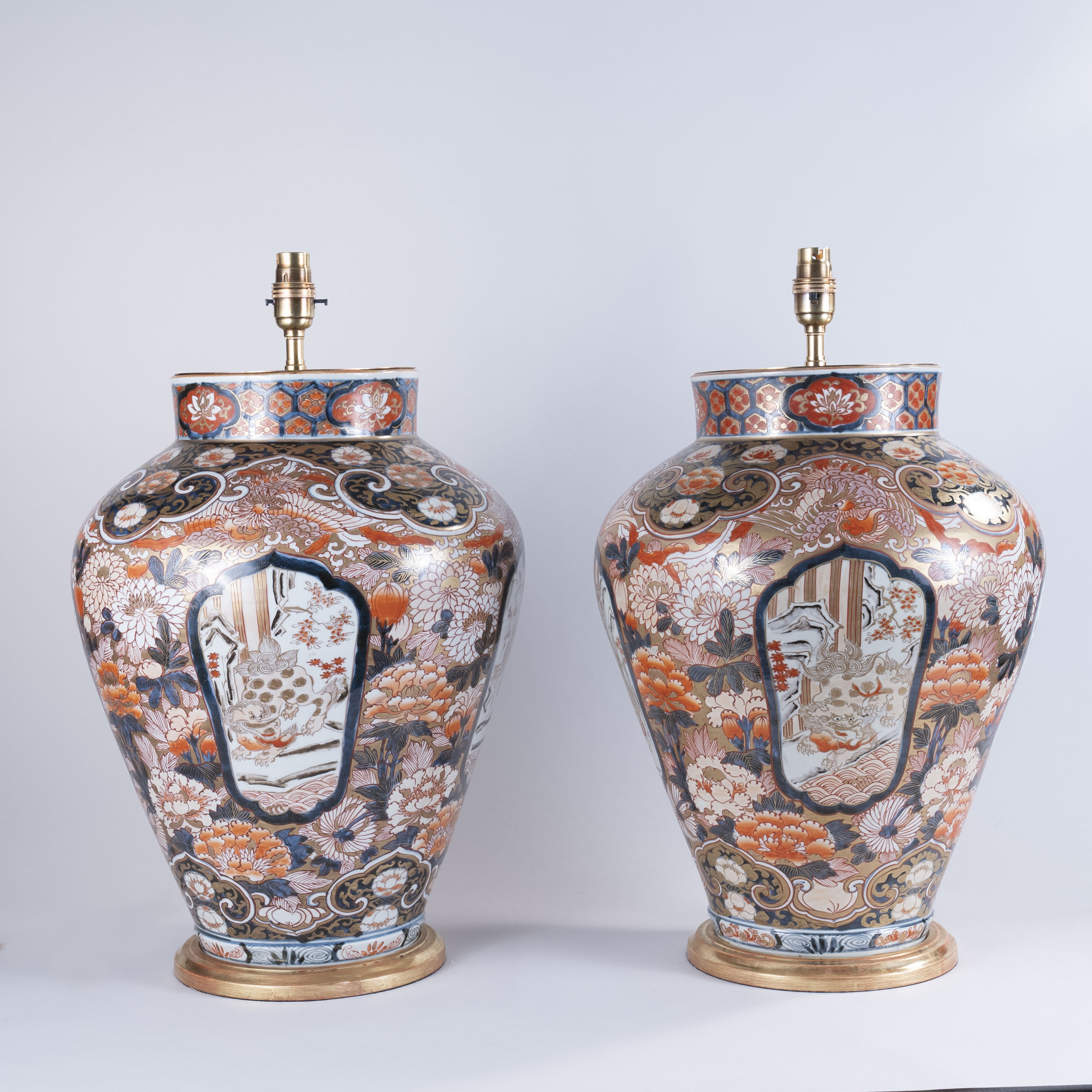Large Pair of Early 18th Century Japanese Imari Vases, lamped