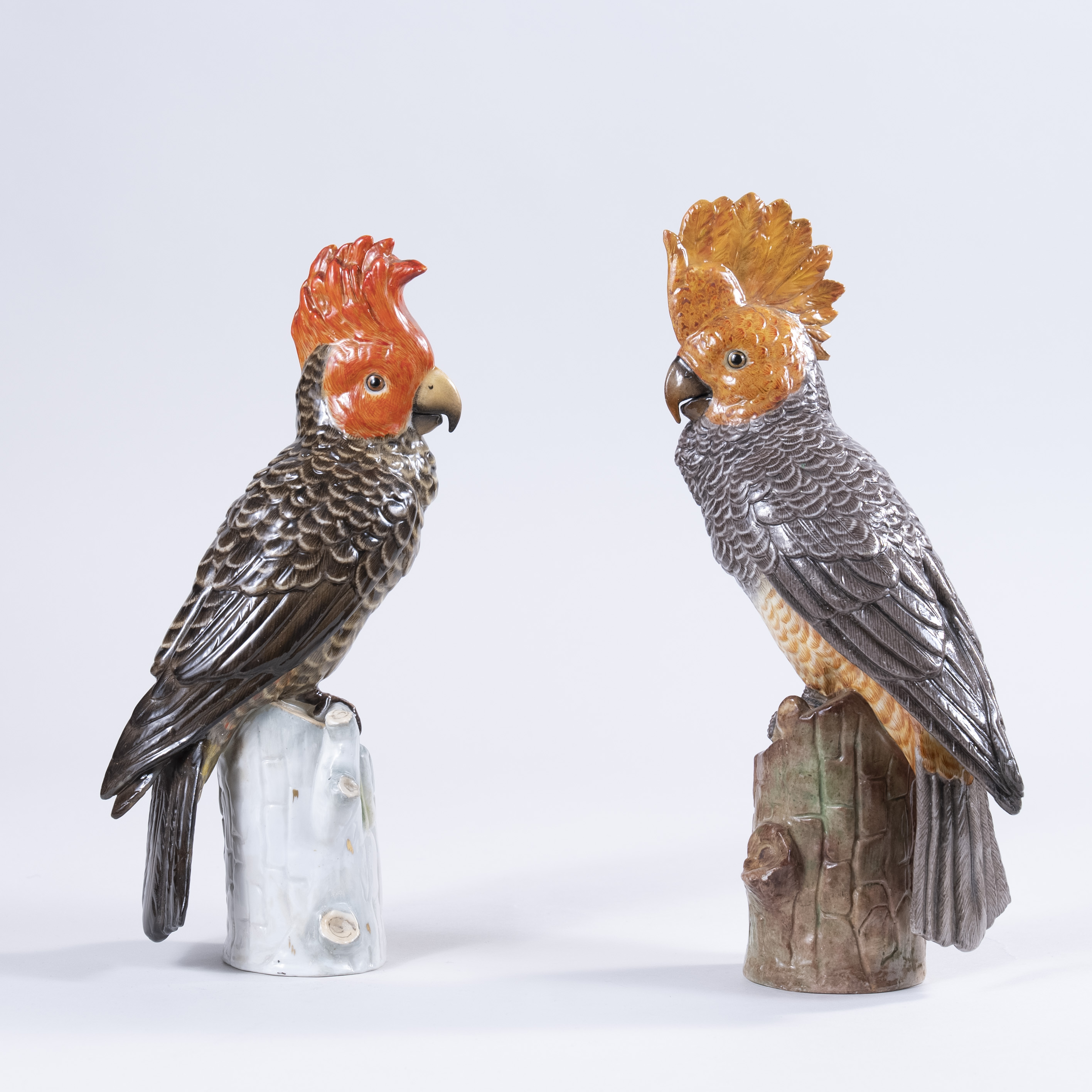 Late 19th Century Pair of German Porcelain Parrots, circa 1880