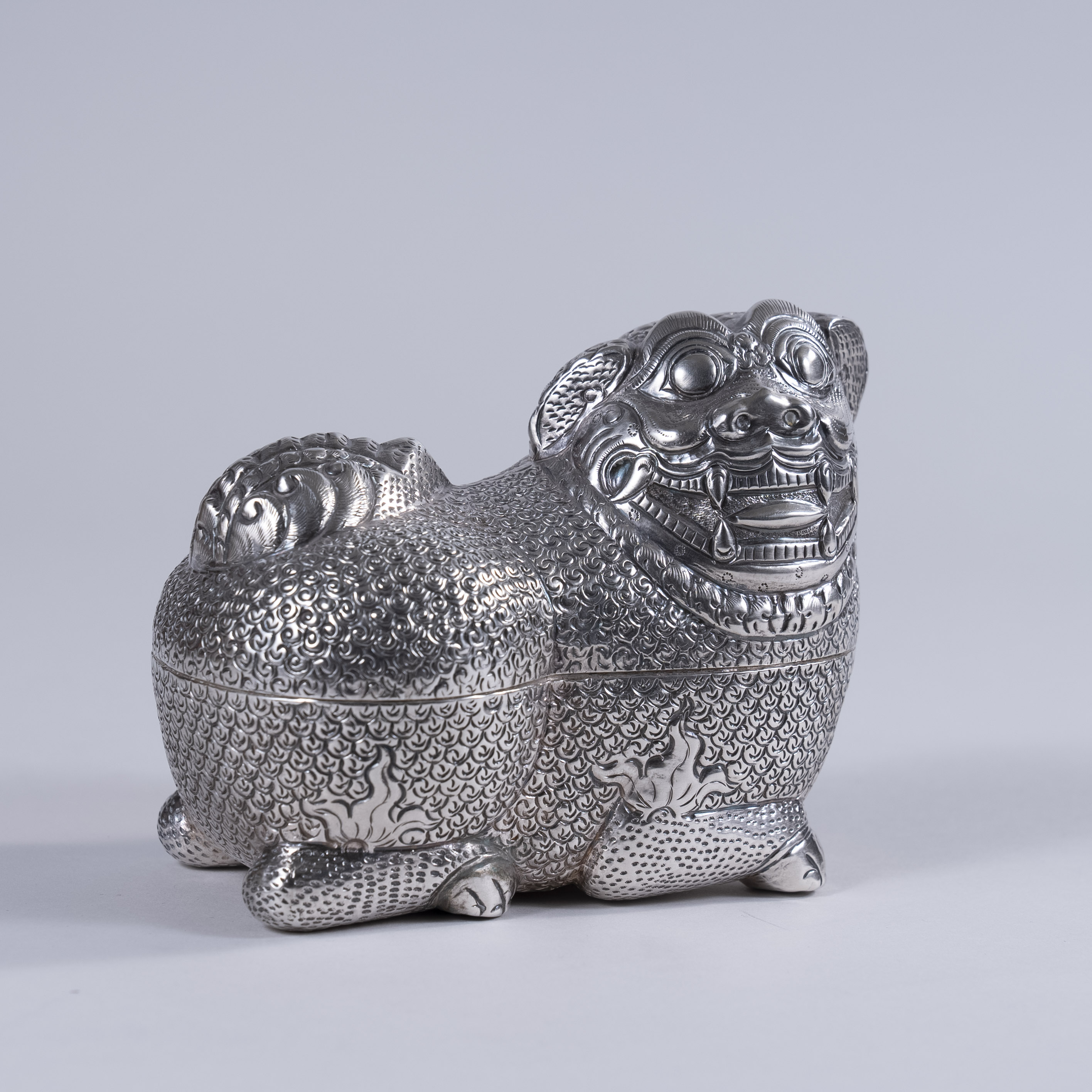 Extremely fine Cambodian repousse silver snuff box, circa 1880