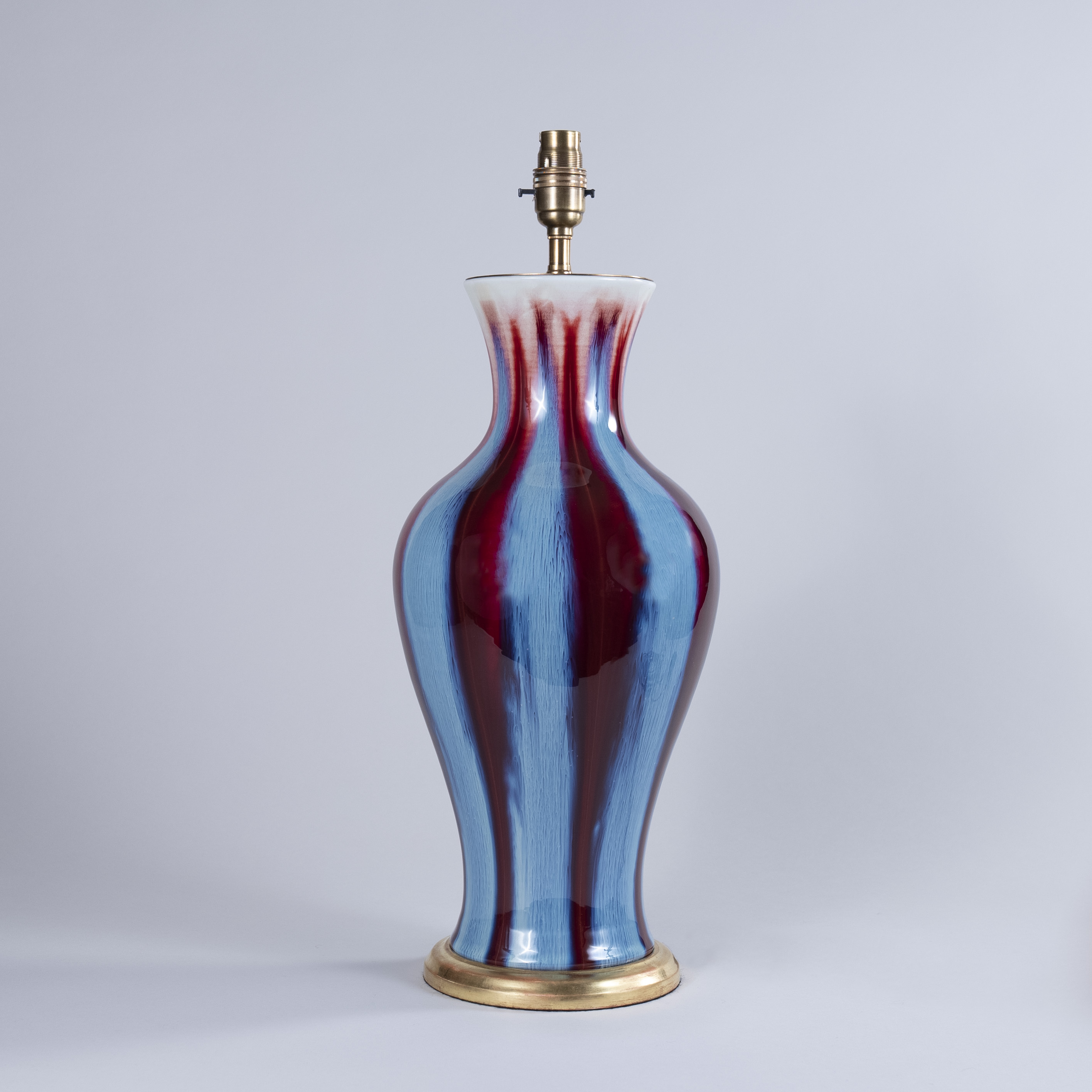 Early 20th century Chinese Flambe' Glazed Vase as a Lamp