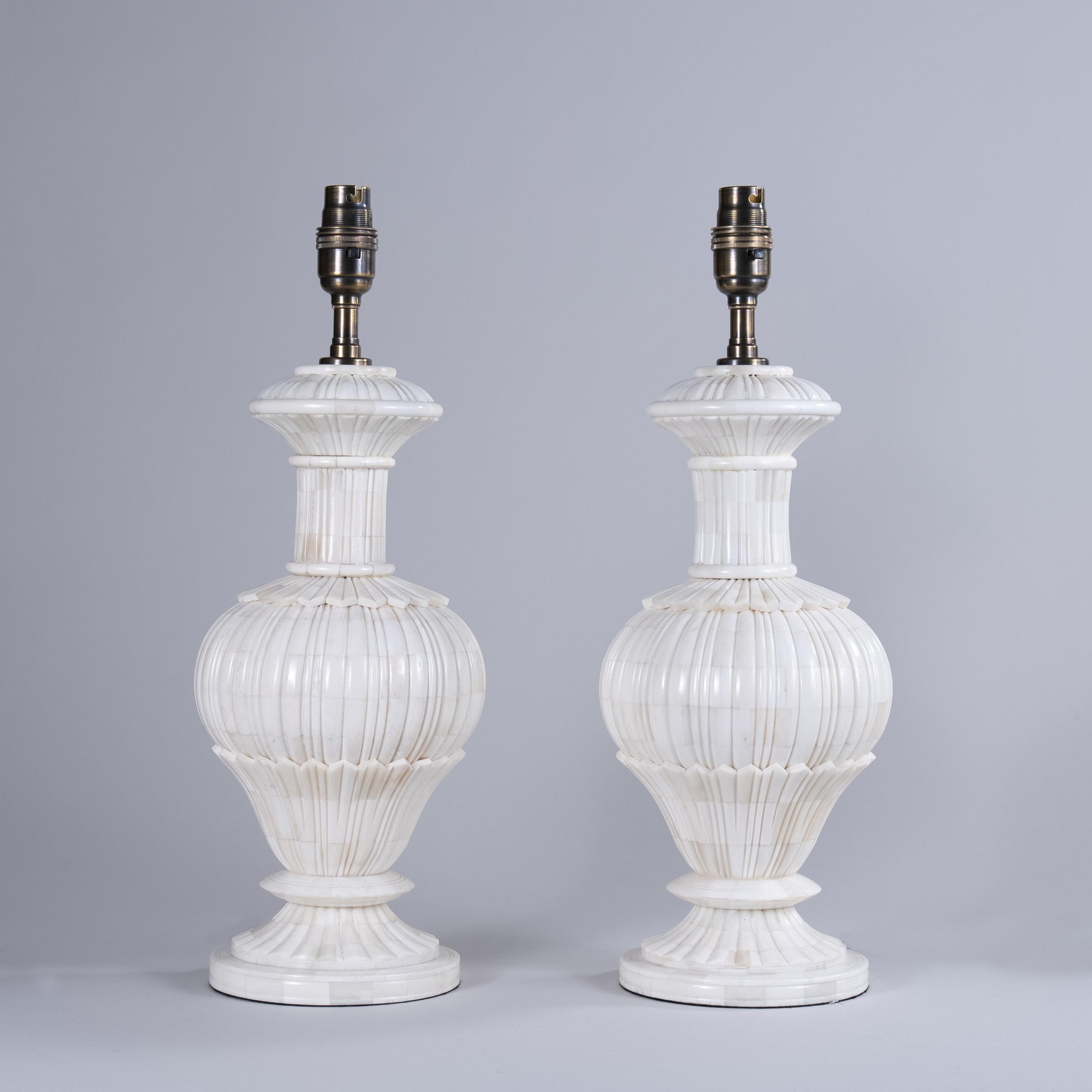 Pair of Mid 19th Century Indian Mughal Bone Veneered Lamps