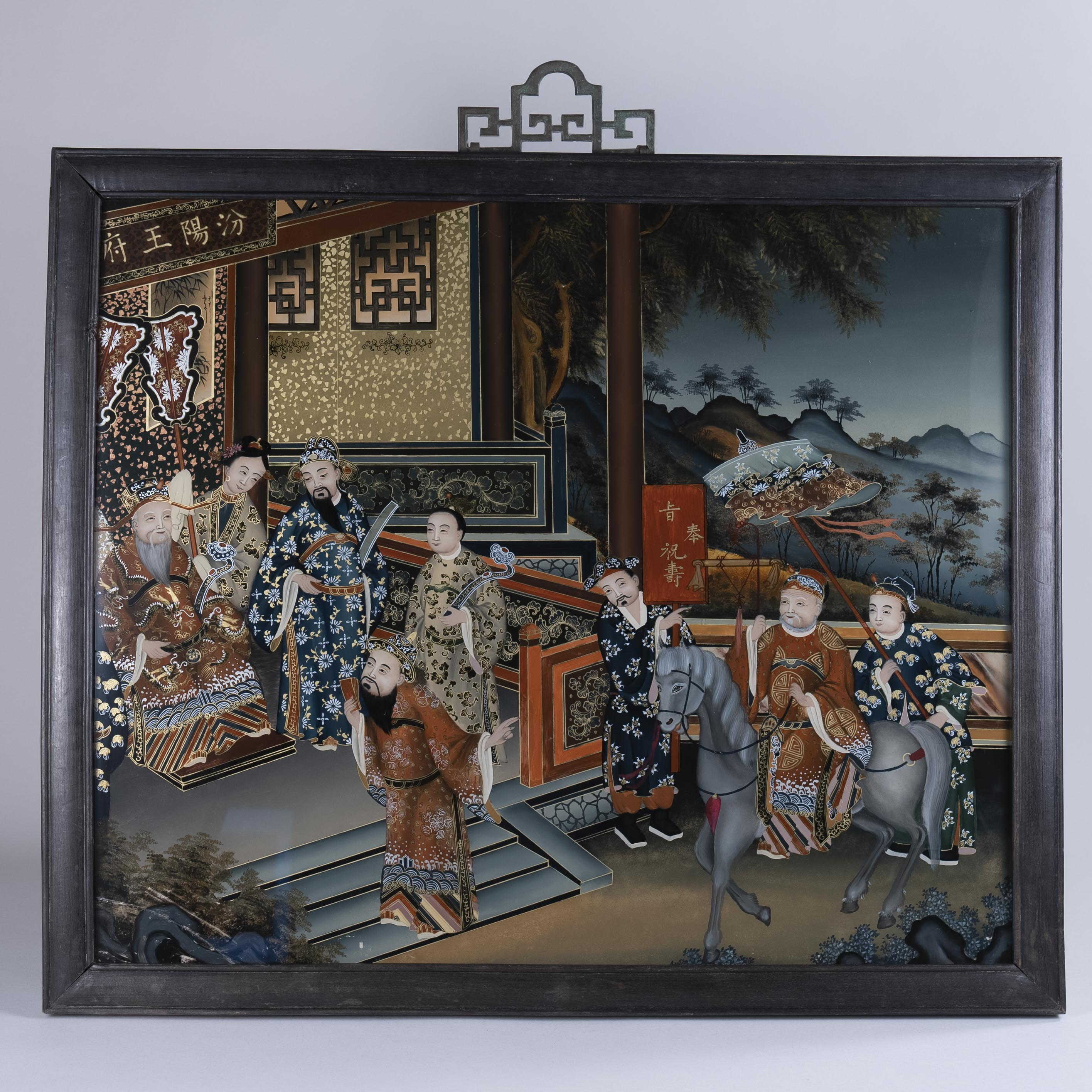 Extremely fine and large Chinese reverse glass painting, circa 1850