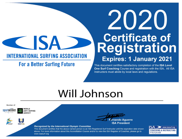 ISA surf certificate