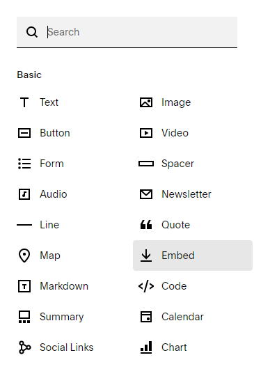 Adding an Embed Block in Squarespace