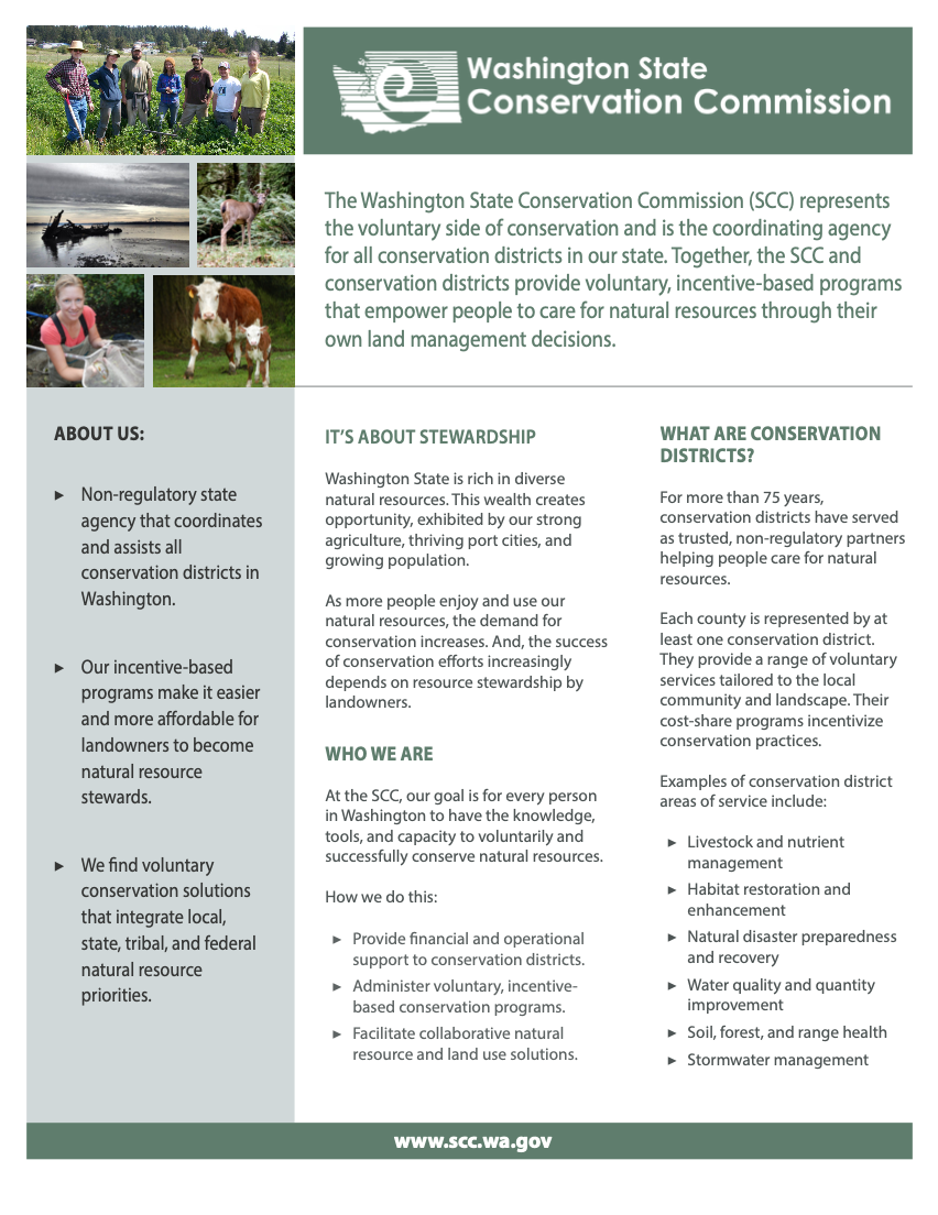 Agency Fact Sheet - Washington State Conservation Commission