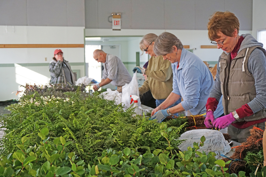 Volunteers pack orders at WICD's annual bare root Native Plant Sale in February
