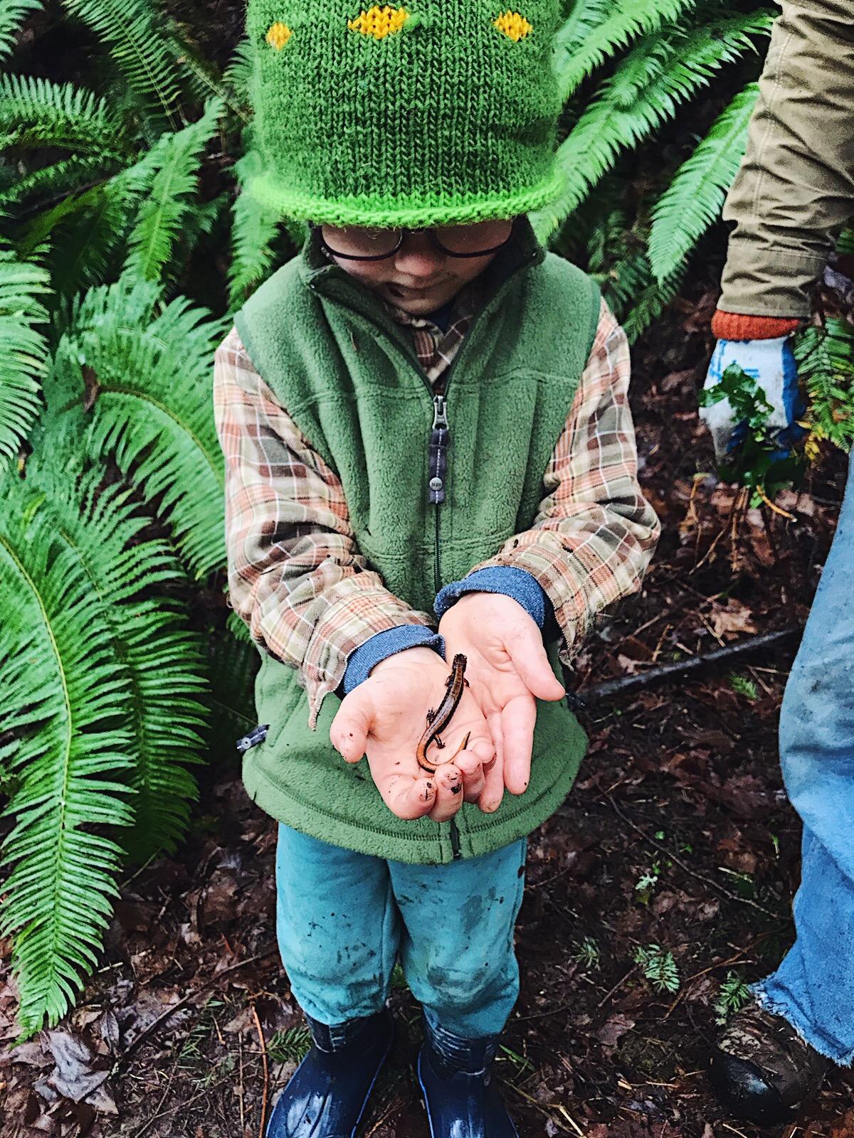 kid with salamander