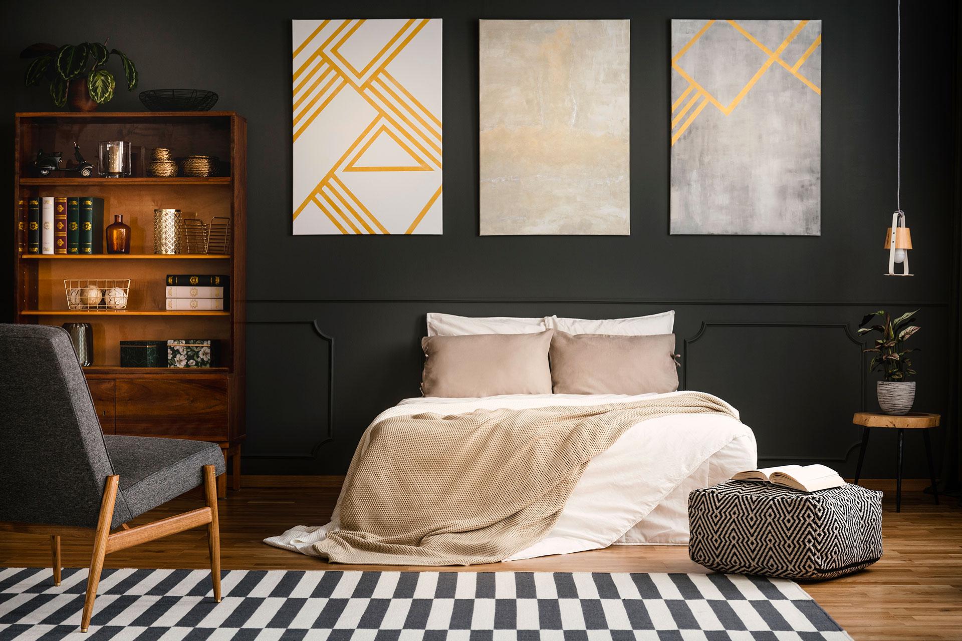 Aménagement d'une chambre d'un appartement témoin pour professionnel de l'immobilier ou agence immobilière