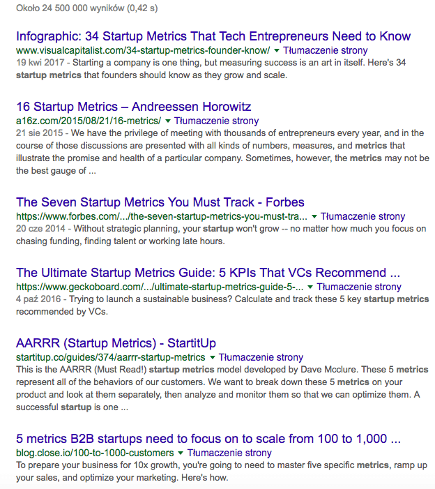 """""""metrics in startups"""" Google search query"""