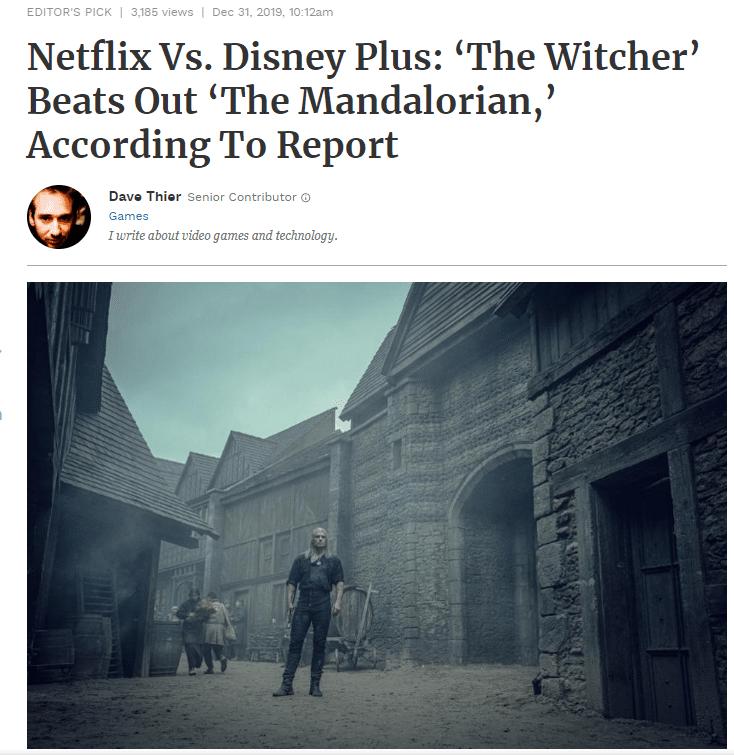 witcher beats mandalorian netflix wins with disney forbes.com