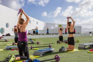 people doing fitness activities