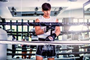 Man doing thai boxing.