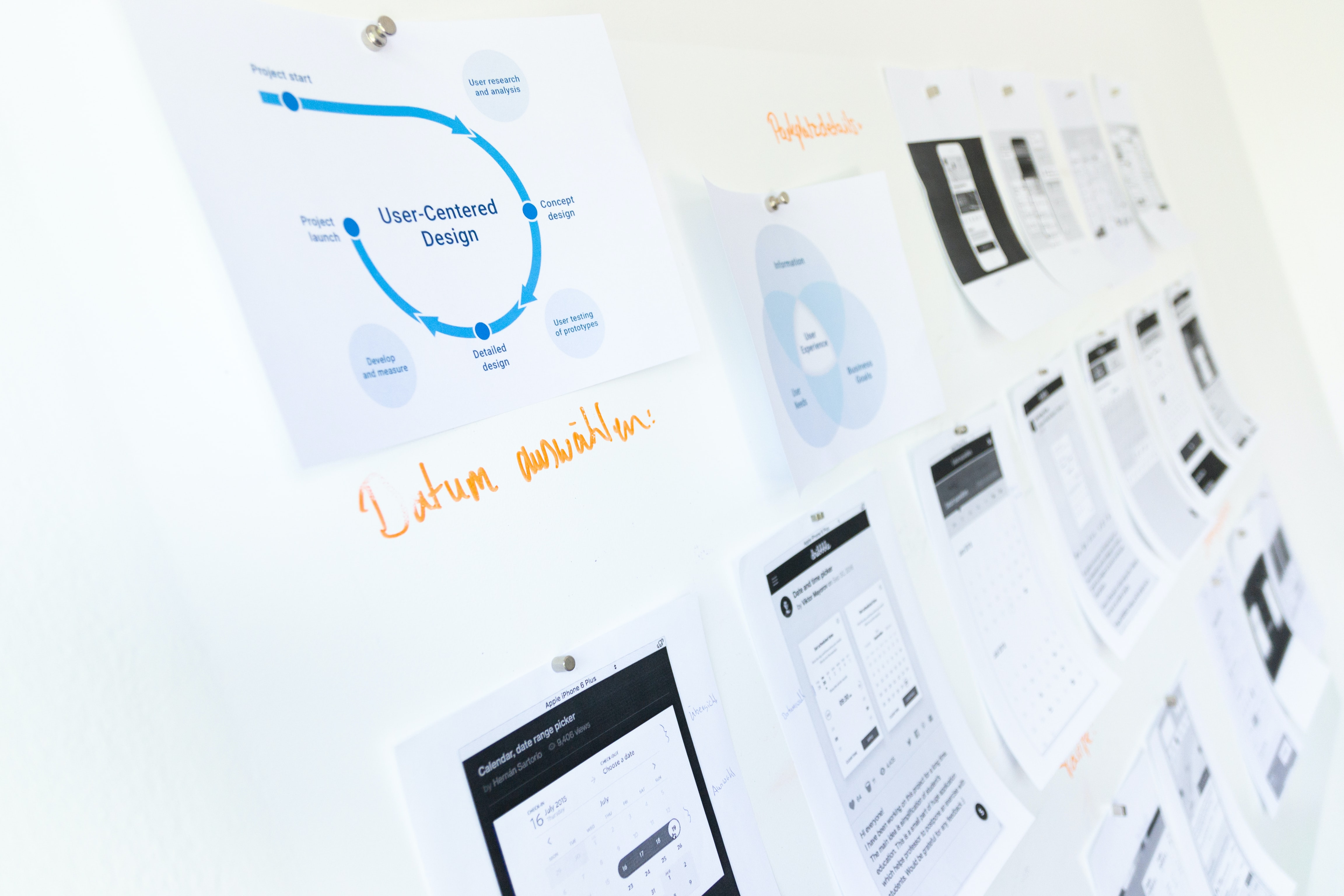 An image of papers on a whiteboard