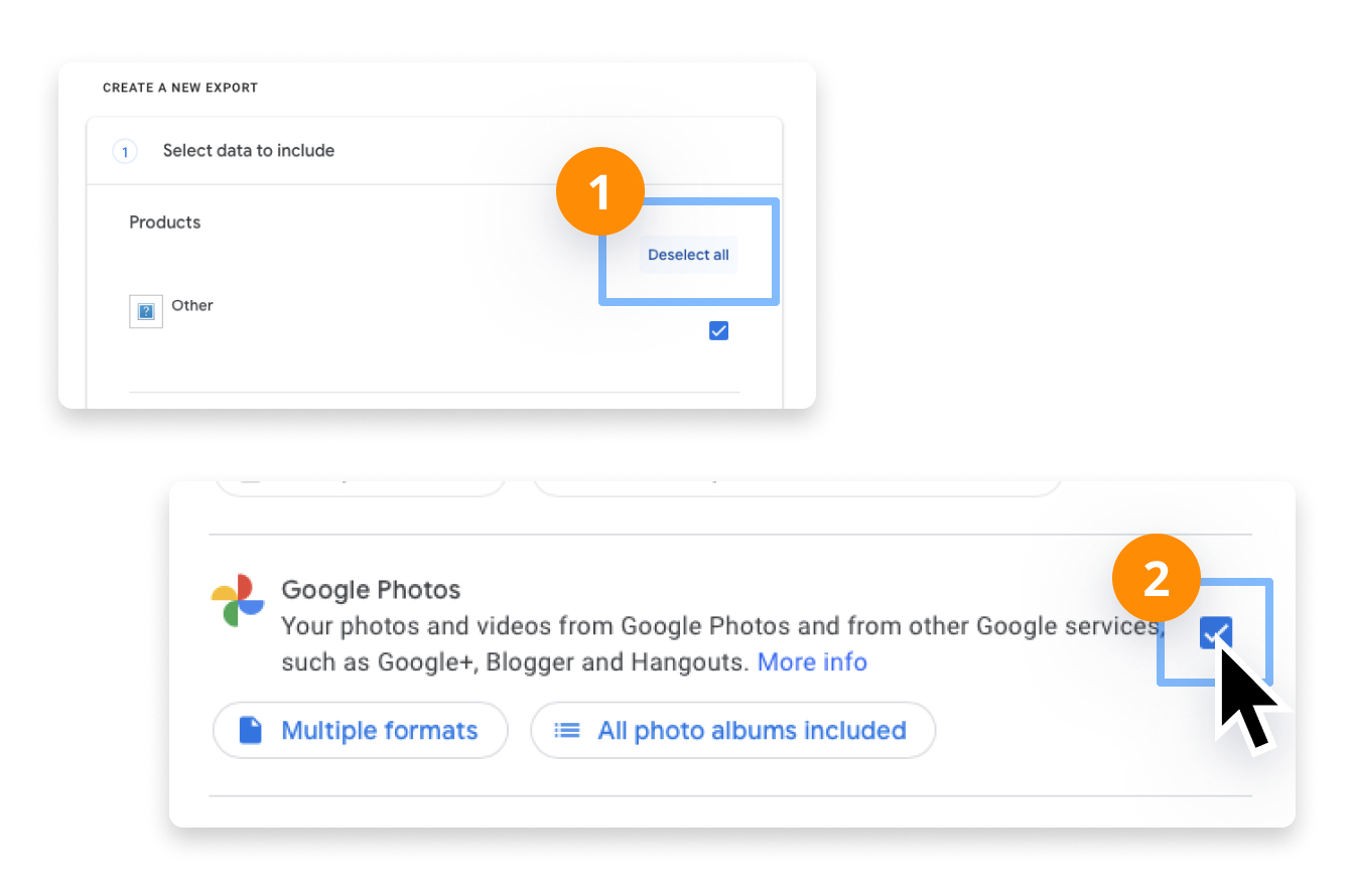 In Google Takeout, deselect all and select only Photos