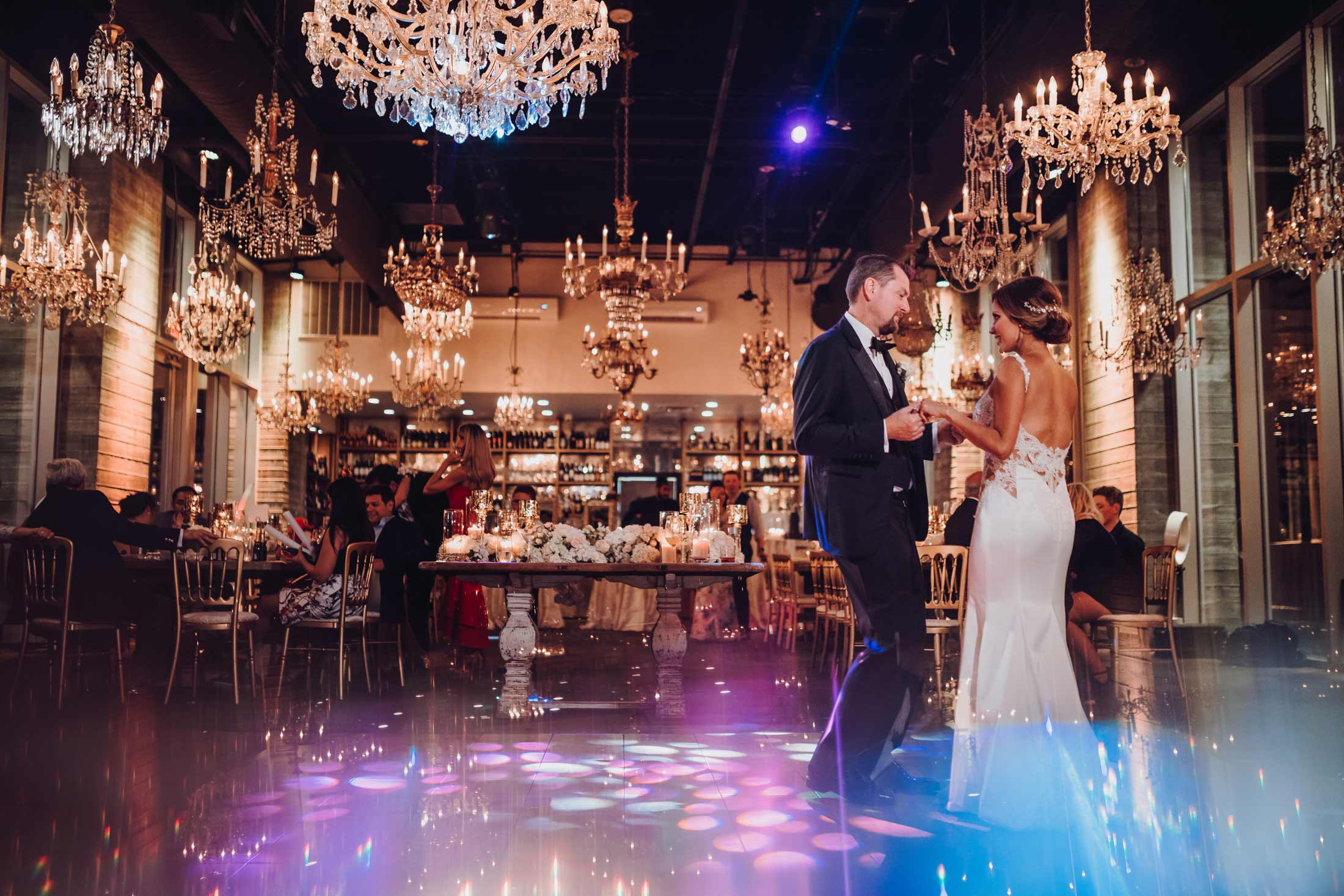 Bride and Groom having their first dance at their Wedding at the Dunlavy in Houston, TX.