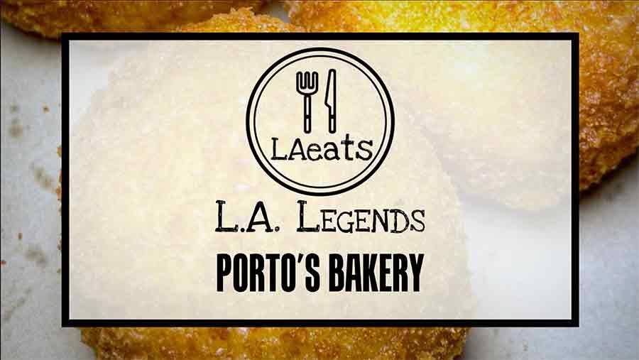 Video of Porto's Bakery and Betty Porto, Thumbnail with logo