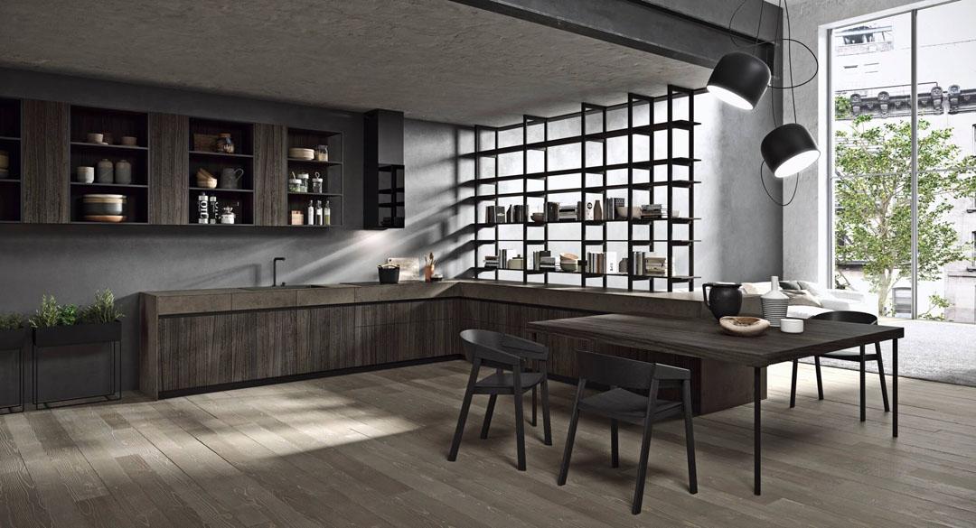 Cucina moderna angolare con apertura con gola scura e tavolo attaccato con gambe in metallo