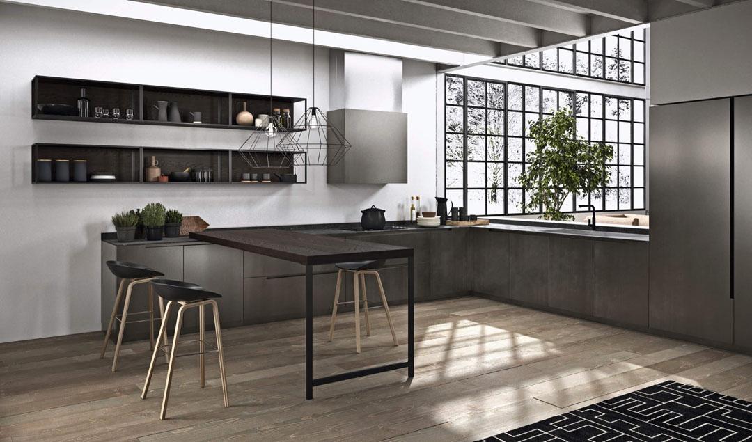 Cucina ad angolo scura con bancone da colazione con gamba di supporto in metallo pensili sospesi con profilo metallico
