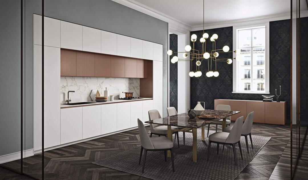 Cucina bianca moderna con tavolo centrale in vetro e pensili e madia laccati rame e struttura bianca opaca