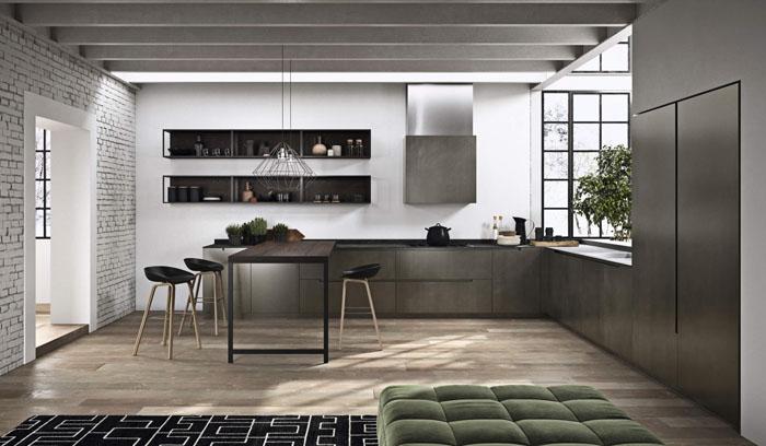 Cucina angolare scura con tavolo attaccato con gamba di supporto in metallo e sgabelli e dettaglio gola passante scura