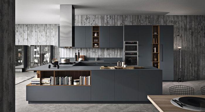 Cucina moderna scura angolare con penisola con ante scure con apertura a gola scura