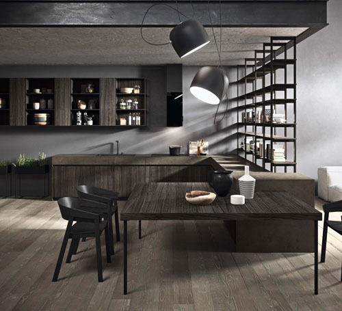 Cucina ad angolo moderna con tavolo attaccato con gamba in metallo verniciato nero