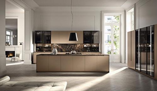 cucina minimal in stile lusso con top, schienale e fianchi dell'isola in Emperador Marrone spazzolato