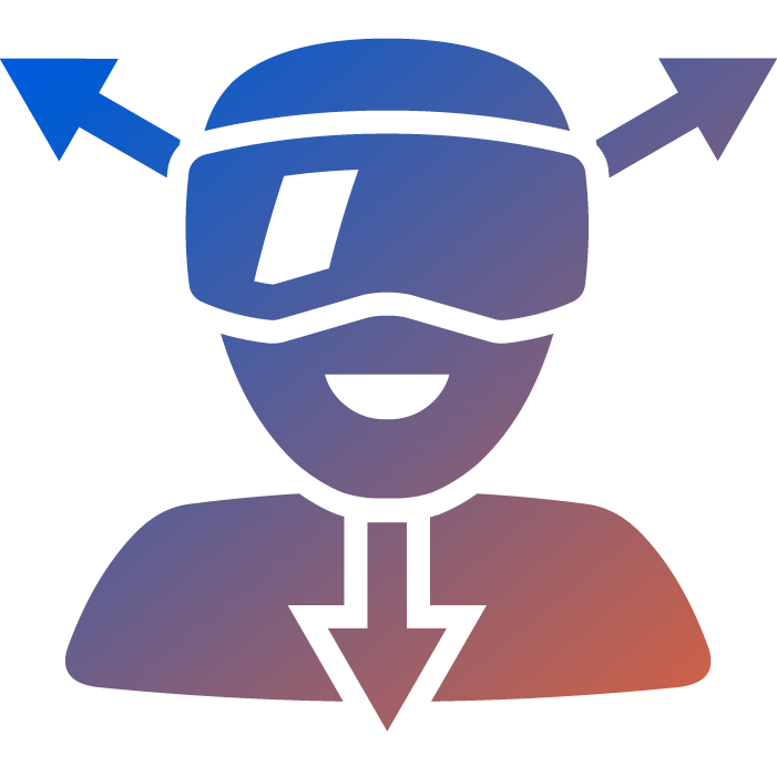 an orange to blue gradient icon showing a human wearing a VR glass