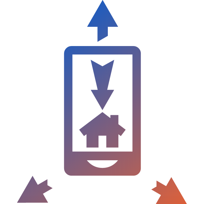 an orange to blue gradient icon showing a virtual tour on mobile phone