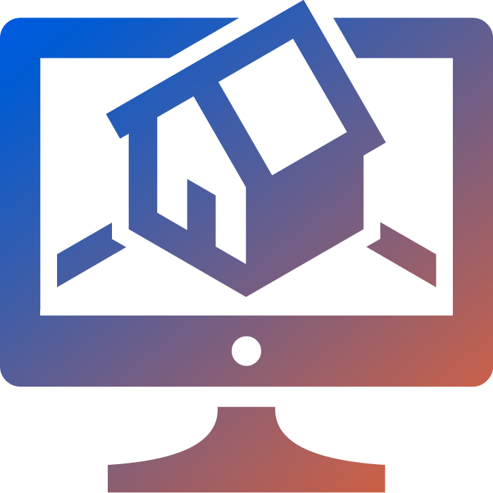 an orange to blue gradient icon showing a house on a desktop PC