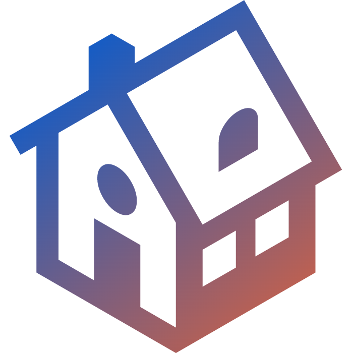 an orange to blue gradient icon showing a house
