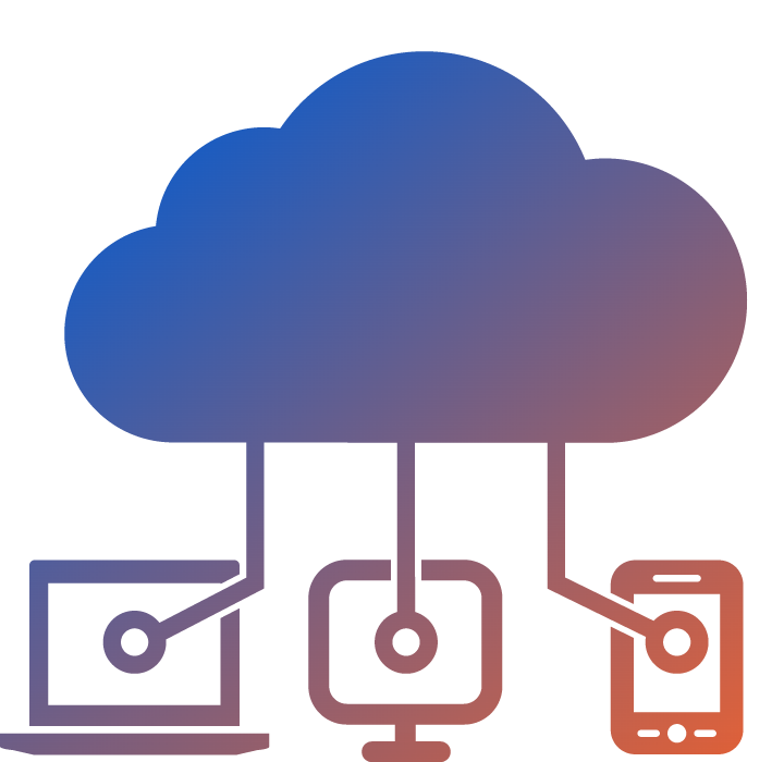 an orange to blue gradient icon showing a cloud server connected to three devices