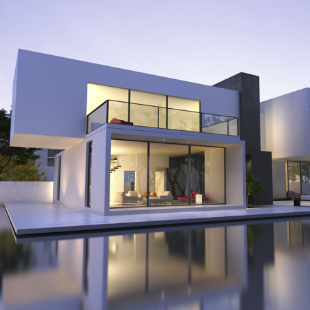 a modern real estate with pool in front reflecting the house