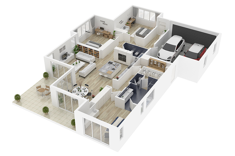 a 3D model of a house with all rooms and interiors