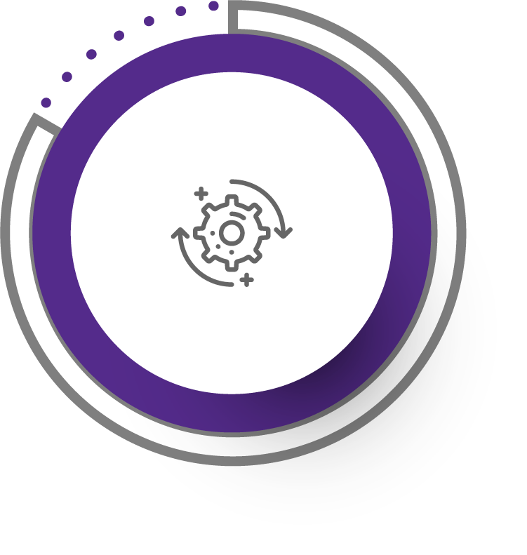 purple circled icon with a circling cog suggesting a quality process for creating a 360° virtual experience