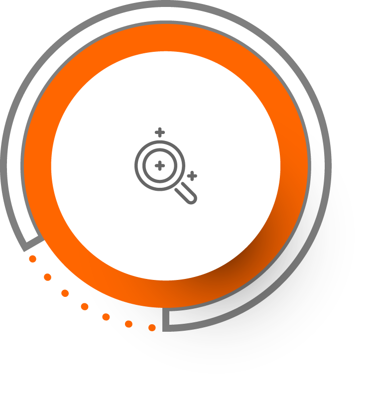 orange circled icon with a magnifying glass suggesting a free in-depth quality consultation
