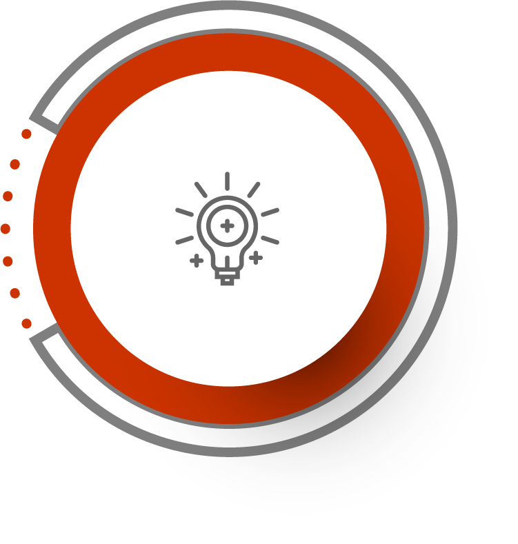 red circled icon with a shining light bulb suggesting the quality capture of 360° footage for creating virtual 360°experiences
