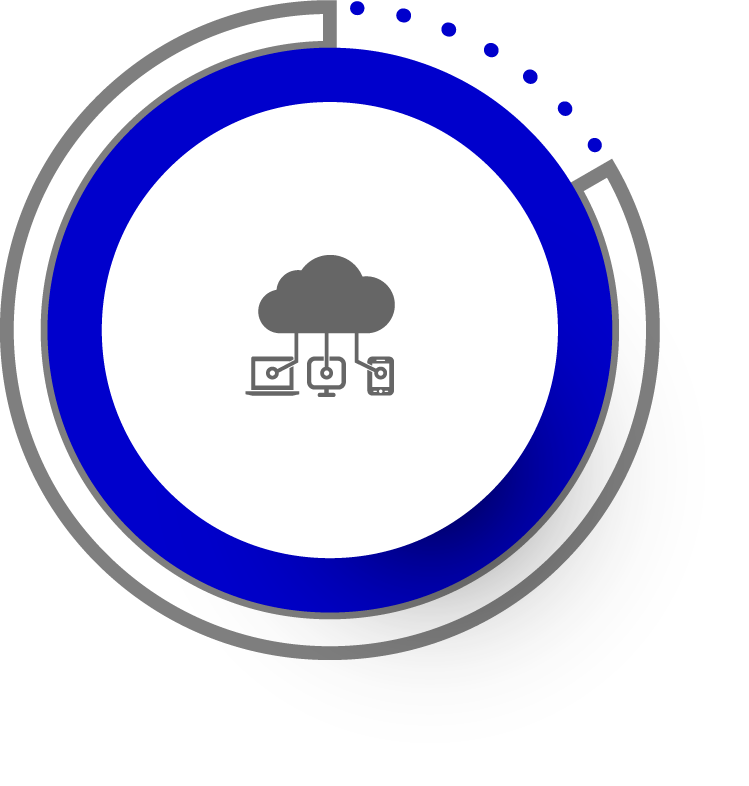 blue circled icon with a cloud connected to 3 devices suggesting quality cloud hosting service