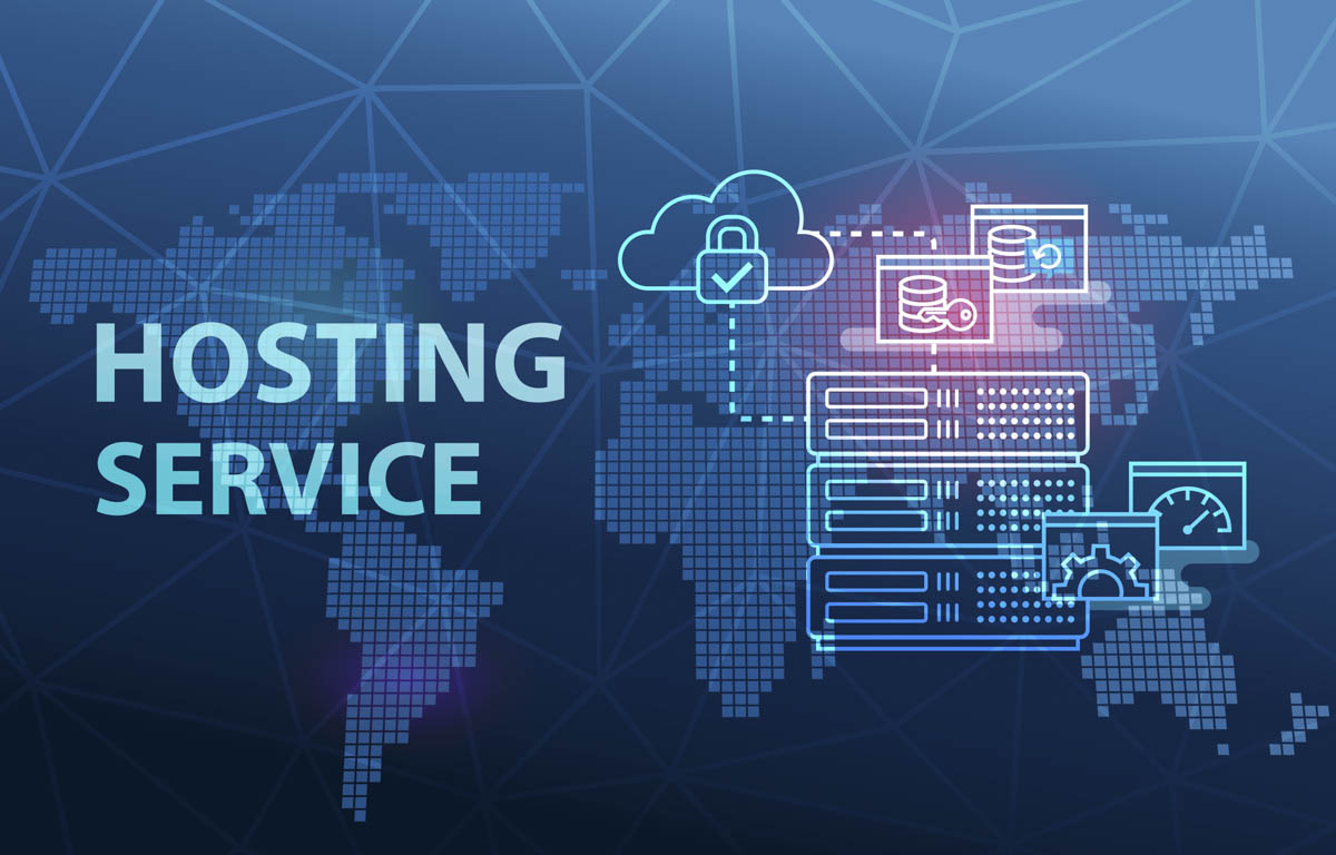 info graphic showing cloud hosting service with worldwide connected cloud server