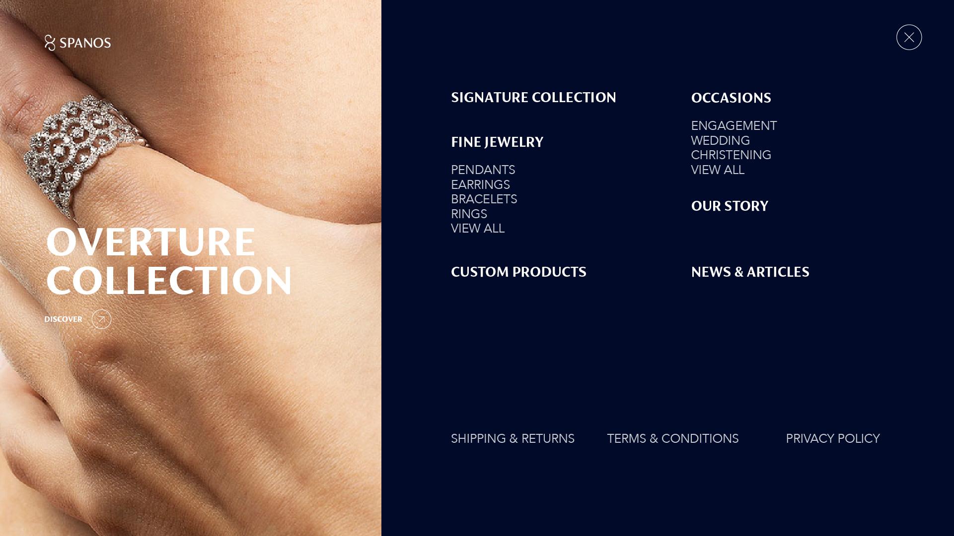 screenshot of menu slider
