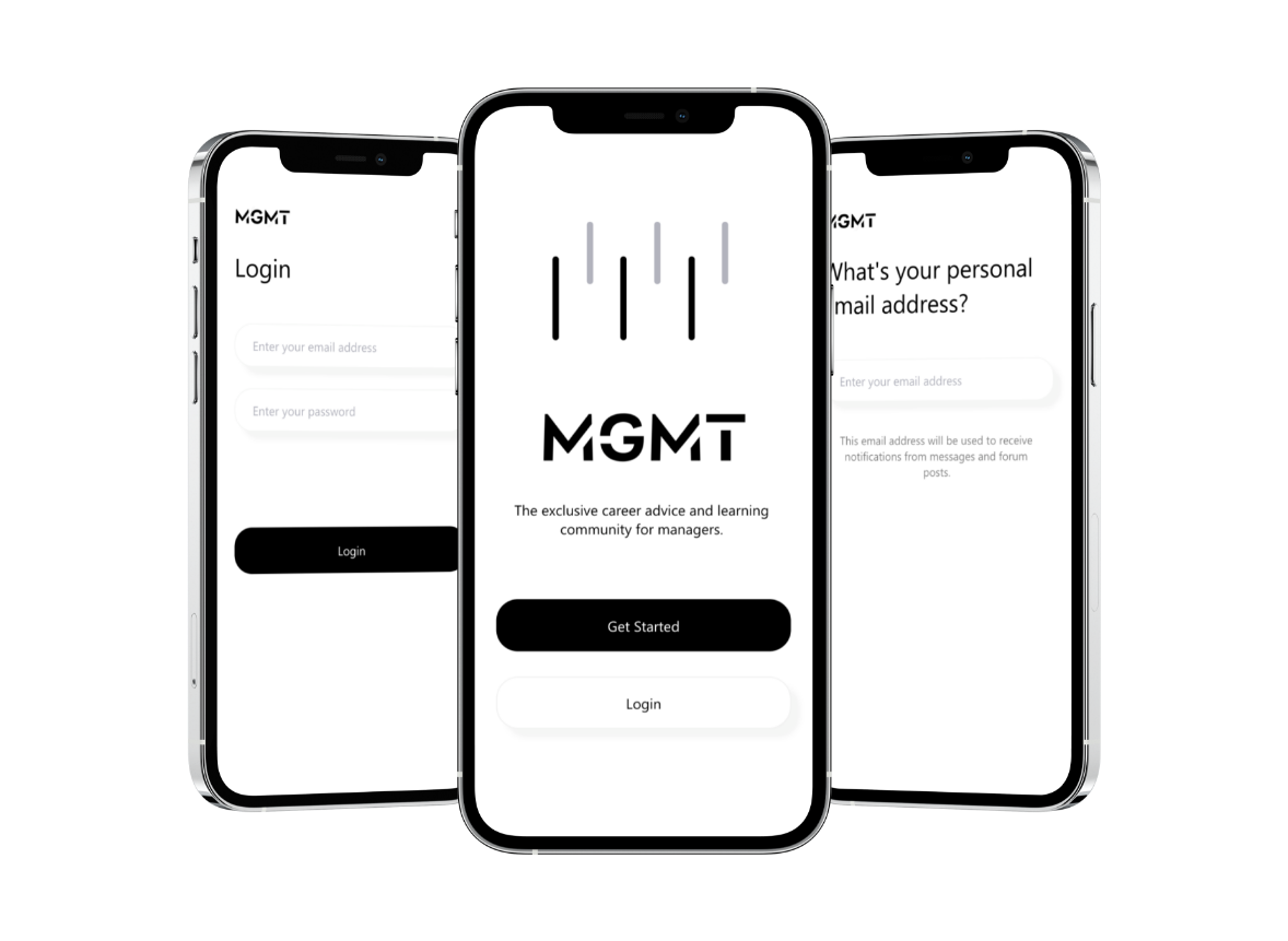 Three preview screens of the Mgmt app