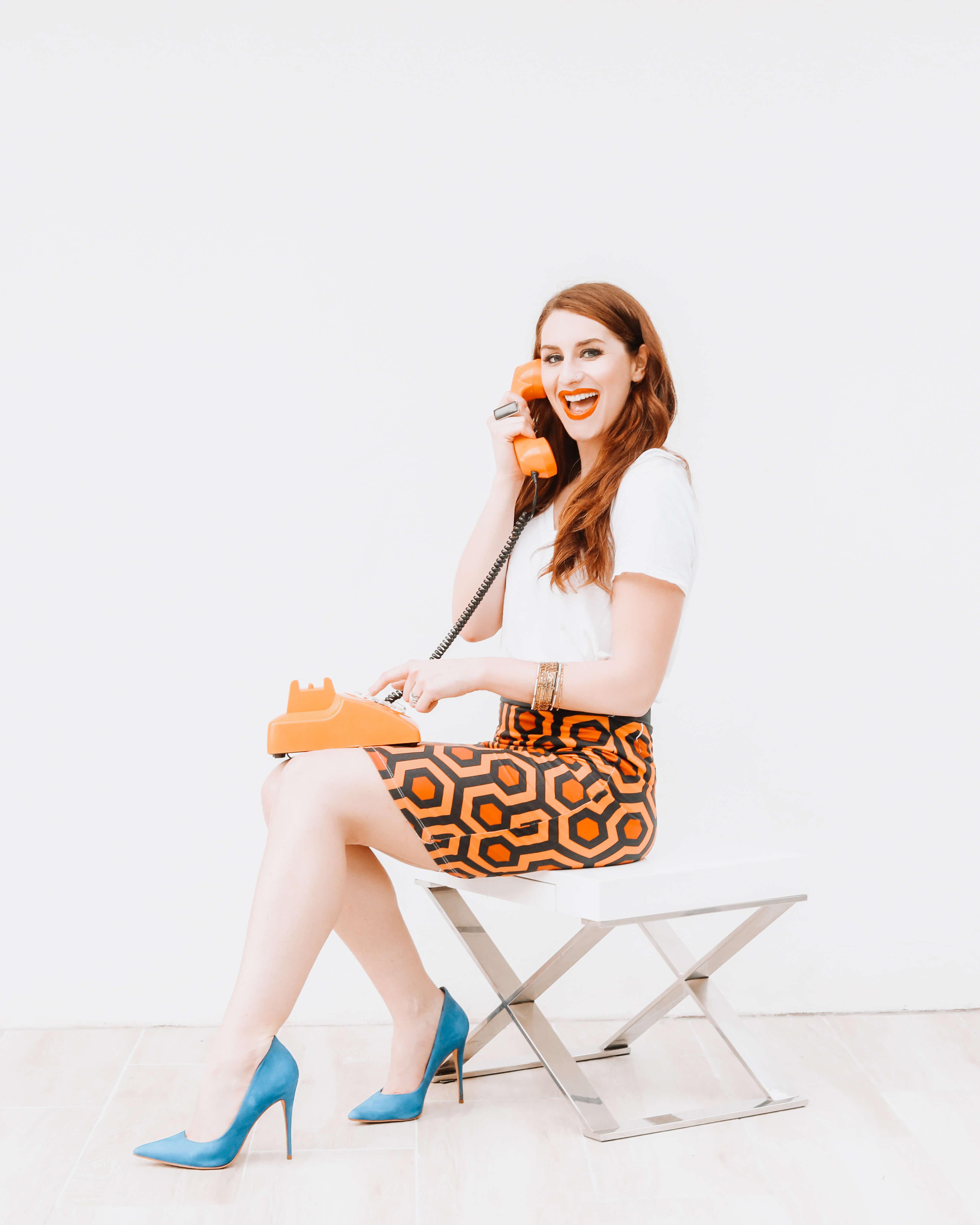 Photo of Sarah Zerkel on the phone