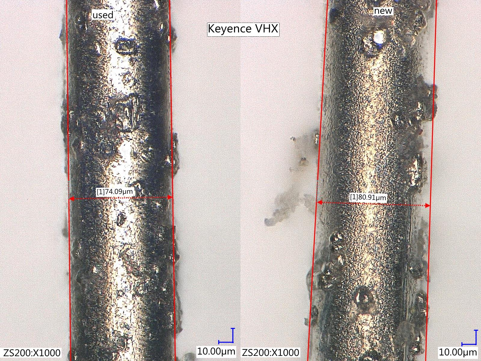 In pictures we show microscopic images (Keyence, VHX-6000) of new and used DW samples and data of in-line RV inspection