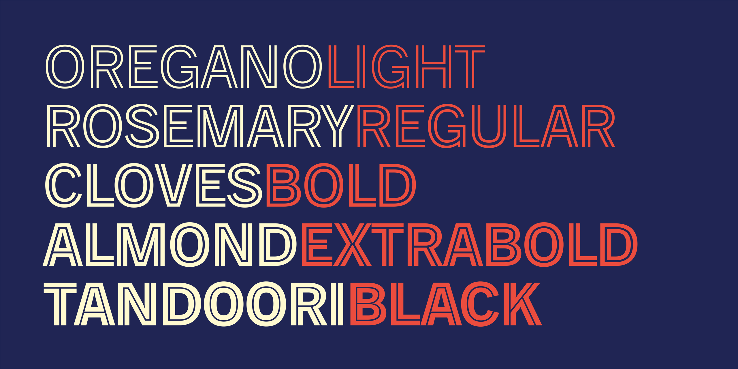 "A dark blue rectangle with the following words ""Oregano Light. Rosemary Regular. Cloves Bold. Almond ExtraBold. Tandoori Black."" Each line shows the varying weights, as per the language on the line."