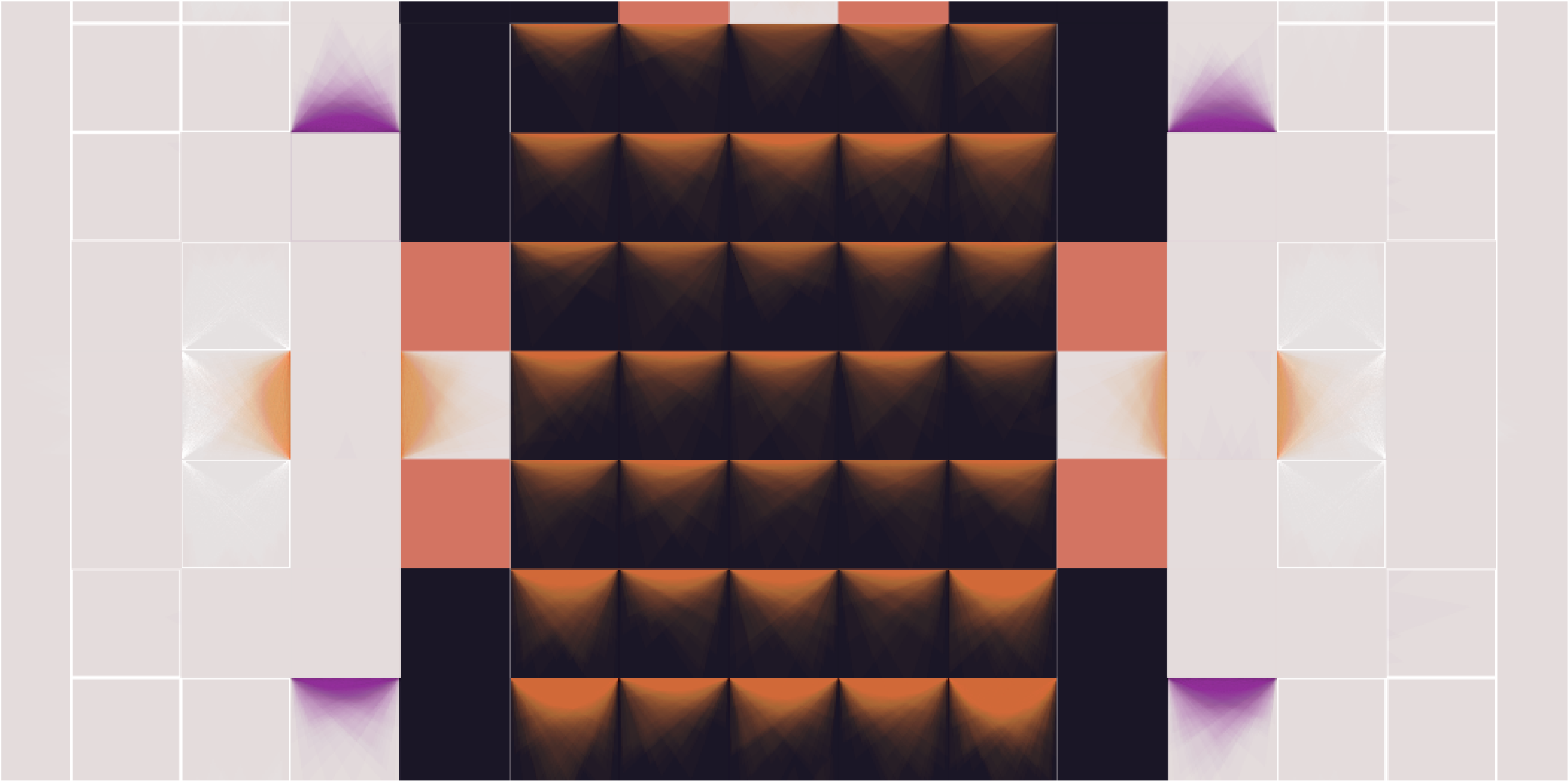 A decorative pixel-based pattern using black, purple, and orange on a beige background. Some of the pixels have gradients to imitate paint spreading.
