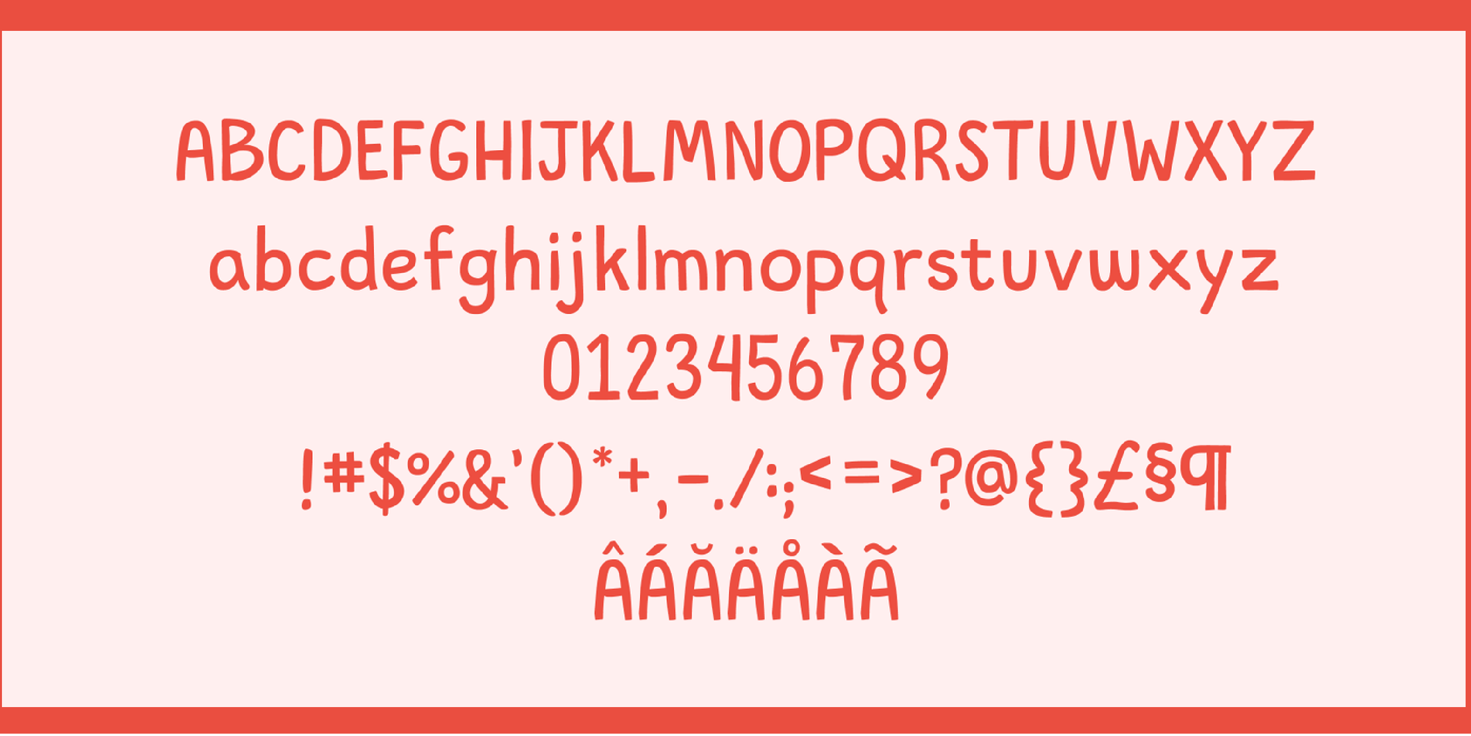 A light pink graphic showing the entire alphabet, numbers, and punctuation set for Lubhand font.