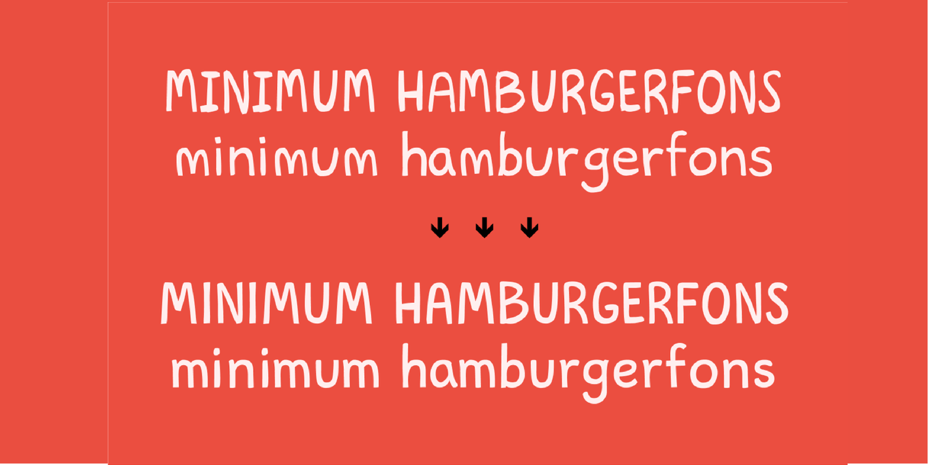 "A red background with light pink text showing the original Lubhand font and the redrawn version. The words showing the font read ""Minimum hamburgefons."""