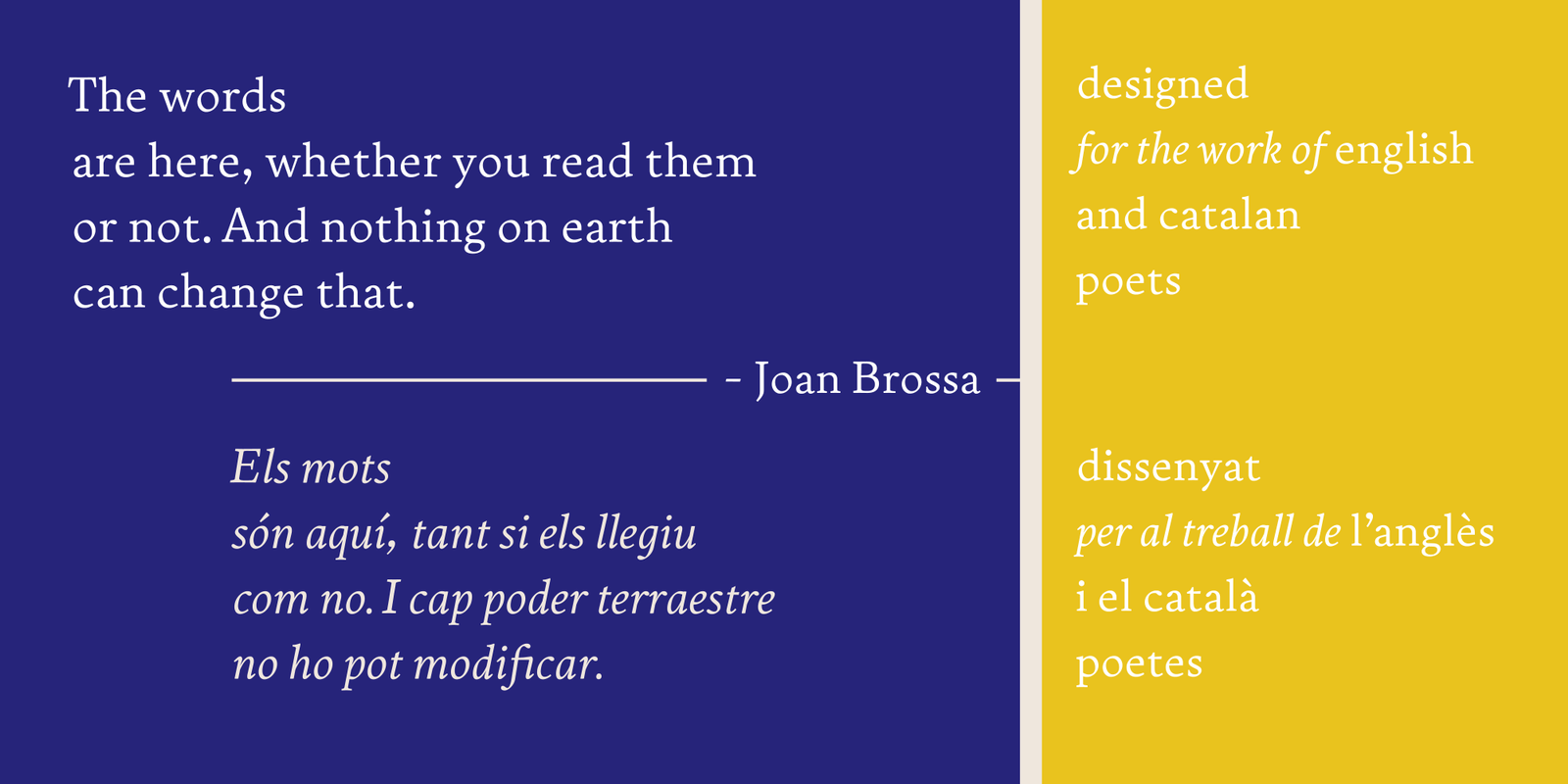 An image of paragraphs of type showing off the Executant typeface in dark blue and yellow.
